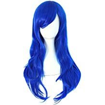 MapofBeauty 70cm/28 pulgada largo rizo seorita rizo anime traje Pelucas (azul)