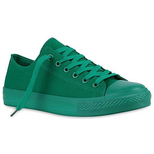 Herren Sneakers Sportschuhe Stoffschuhe Schnürer Grün