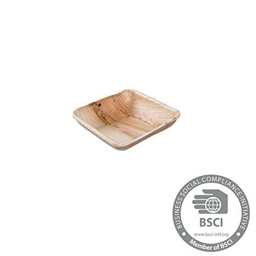 25x mini coupelles en palme | 80ml, 8x8cm carré | 100% biodégradable, compostable | veinure déco individuelle | stable et solide | pour sauces, buffets & amuse-bouches