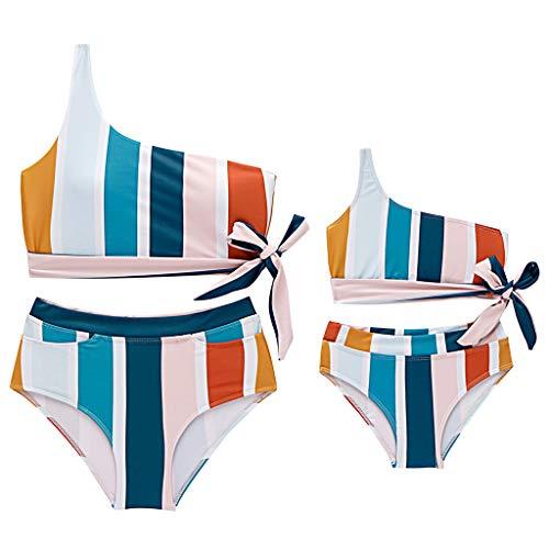DQANIU ❤️Mutter und Kinder❤️ gestreifter Damen- / Mädchen-Badeanzug mit Zwei Schultern und passender Badeanzug-Kleidung, Familien-Bikini (Midi-bikini-badeanzug)