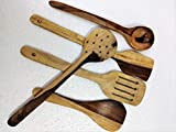 Kitchen Delli Wooden Multipurpose Serving and Cooking Non-Stick Spoon (Set of 5)