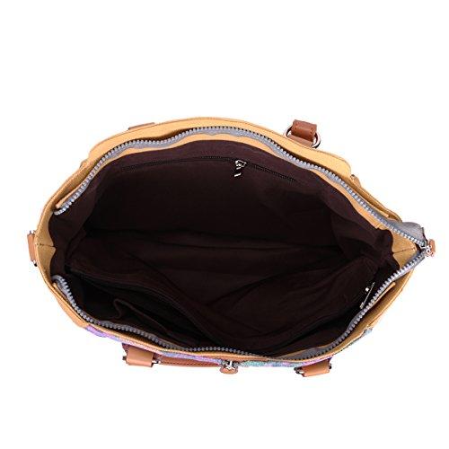 Eshow Borse Multifunzione a tracolla donne tela tessuto casual viaggio borse a tracolla molto portabile al Confronto Marron