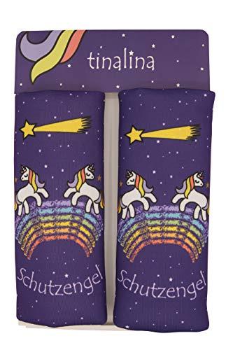 2x Gurtpolster Kinder, Gurtschoner für Kinder, in Lila für Mädchen, mit einzigartigem Einhorn Motiv für Autogurte & Babyschalen geeignet tinalina®