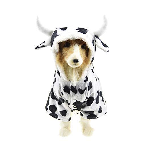 Haustier Kuh Kostüm für große Hunde Winter Fleece Jacke Mantel Lustige Kleidung für Labrador, 4XL, weiß ()