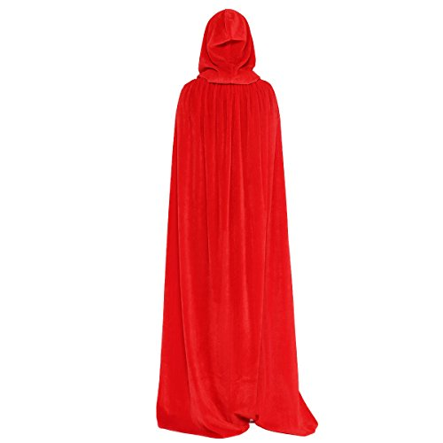 (Huntforgold Umhang mit Kapuze Lange Samt Cape für Halloween Karneval Fasching Vampir Kostüm(60-170cm) Rot)