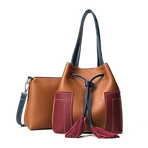 QPALZM 2 Pièces Set Womens Girl's Shoulder Bag Bucket Sac à Main Tassels Retro Embrayage Large,Brown-OneSize