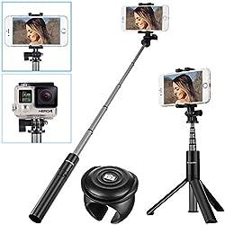 SAWAKE Perche de Selfie, Perche Selfie Bluetooth avec Obturateur de Télécommande Amovible sans Fil, Extensible en Aluminium Selfie Stick Monopode pour iPhone Samsung Huawei Sony, GoPro Caméras etc(Y)