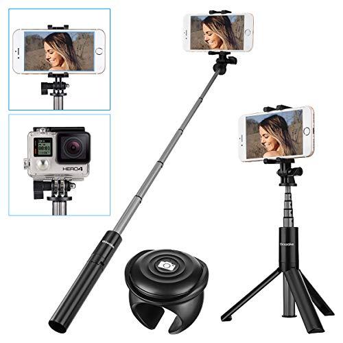 Bastone selfie, sawake bluetooth treppiede table camera 2 in 1, selfie stick con telecomando, senza fili in alluminio estensibile selfie stick monopiede per iphone android samsung huawei xiaomi