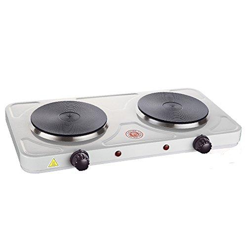 Grafner® Kochplatte Doppelkochplatte 2000 Watt weiß Herplatte 2x 155mm