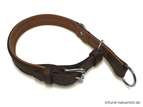 Zugstopp Lederhalsband für Hunde braun, Chrom Gr. 45