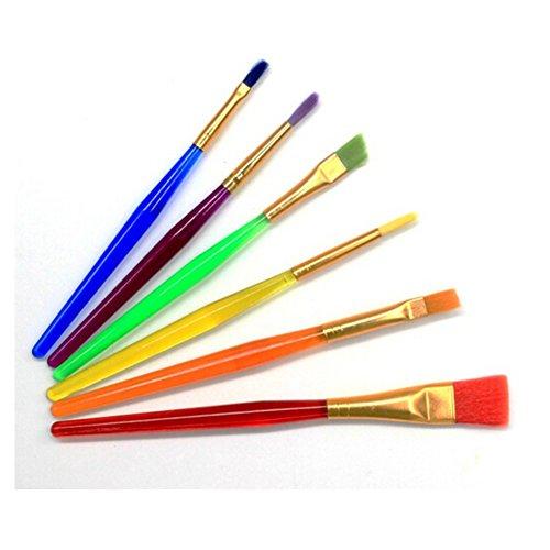 Fletion 6 pièces Pinceaux Brosses Professionnels de peinture Ensemble de rond à pointes Nylon Cheveux Artistique Brosse Pinceau de Peinture à l'Huile Pinceau de Gouache,Pinceaux d'Aqua