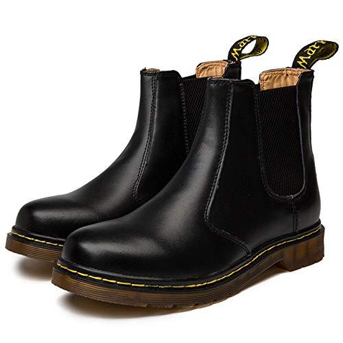 Zkyo Chelsea Boots Damen Herren Kurzschaft Winter Stiefel Warm Gefüttert Ankle Stiefeletten Rutschfeste Worker Boots Größe Schwarz 39