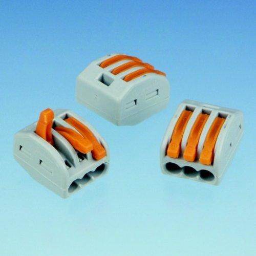 WAGO-Verbindungskabel mit Hebel 3-polig grau 10 Stück