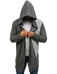 BOLF Men's Longline Hoodie Zip Plain Assassin Streetwear [1A1]