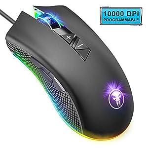 ANVASK Gaming Maus Wired(mit Avago 3325 Sensor, Einstellbare 10000 DPI, 8 programmierbare Tasten, 16,8 Millionen LED RGB…
