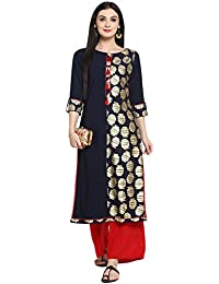Ziyaa Women's Navy Blue Color Straight Foil Print Kurta (ZIKUCR2246)