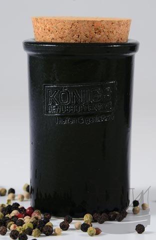 Chakalaka, scharfe, afrikanische Gewürzmischung, NEU, 100g im Set mit 1 Steinzeugtopf, 105/55 mm, rund, mit Korkverschluß, schwarz, Gewürzdose, Tontopf - Bremer (Runde Dip)