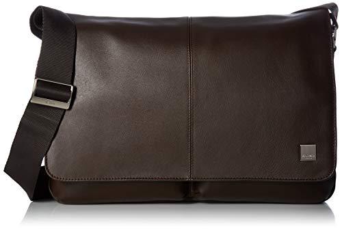 Knomo 154-304-BRN Brompton Kobe Soft Messenger Tasche aus Leder kombiniert mit Nylon, aus recycelten PET-Flaschen für 15 Zoll Notebooks | Braun