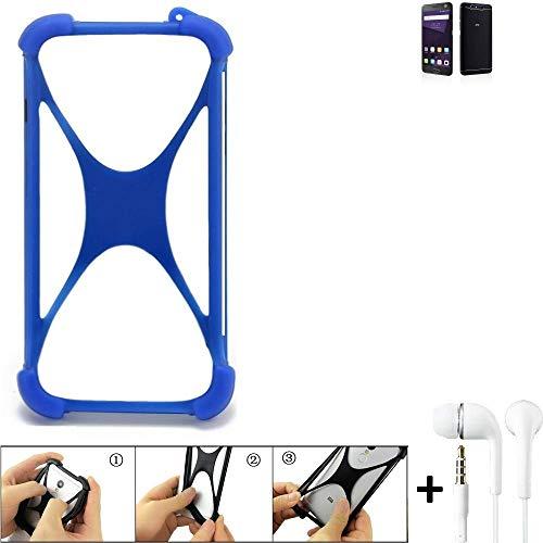 K-S-Trade Handyhülle für ZTE Blade V8 64 GB Bumper Schutzhülle Silikon Schutz Hülle Cover Case Silikoncase Silikonbumper TPU Softcase Smartphone, Blau (1x), Headphones