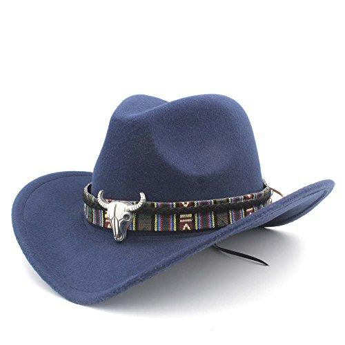 �te für Frauen Herren Western Cowboy Hat Lady Jazz Cowgirl Sombrero Kappen mit farbigen Deko Gürtel, dunkelblau, 55-58 cm ()