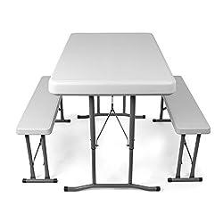 Vanage Camping, Bierzeltgarnitur klappbar, Gartenmöbel Set inkl. 2 Bänke und Tisch, ineinander verstaubar, weiß