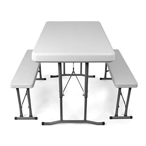 gartenmoebel set angebote Vanage Camping, Bierzeltgarnitur klappbar, Gartenmöbel Set inkl. 2 Bänke und Tisch, ineinander verstaubar, weiß