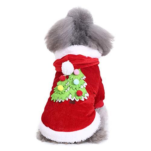 Renendi - Vestiti per Animali Domestici, con Stampa ad Albero di Natale, Caldi e Morbidi, per l'Autunno e l'Inverno
