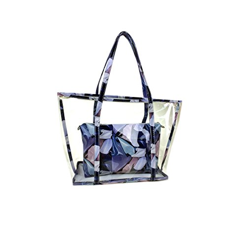 Semi-clear Jelly Transparent Sweet Holidays Outdoor Pu Leather Beach Shoulde /Tote/Swimming Tote Bag Handbag Set (Blue Scarves)