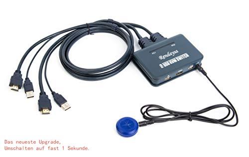 Productos neutros HD KVM-Switch 2-Port-HDMI-Schalter Multi-Computer-USB-Maus-Tastatur automatisch 2 in eine Unterstützung wechseln: Für Win98 / ME / 2KP4 / XP / 2003, Linux, Apple, MAC (Knopfmodelle)