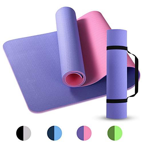 Limerence Yogamatte Gymnastikmatte Trainingsmatte Fitnessmatte, TPE Matte Jogamatte Sportmatte mit Tragegurt für Yoga Pilates und Gymnastik (183x61cm, 6mm)
