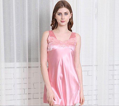LJ&L Loose grandi cantieri pigiama / gonna vasca sezione sottile maniche Estate / filato camicia da notte di seta signora con scollo a V,blue,XXXL Pink
