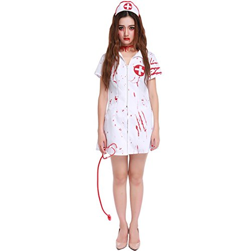 Masterein Frauen Horror Zombie Bloody Nurse Uniform Cosplay Kost¨¹me Halloween Outfits (Kostüme Genie Frauen Für)