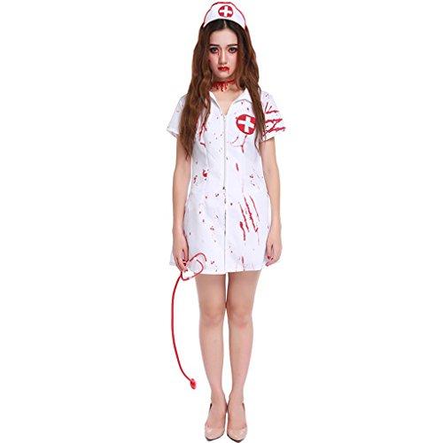 Masterein Frauen Horror Zombie Bloody Nurse Uniform Cosplay Kostüme Halloween Outfits (Outfits Krankenschwester Halloween)