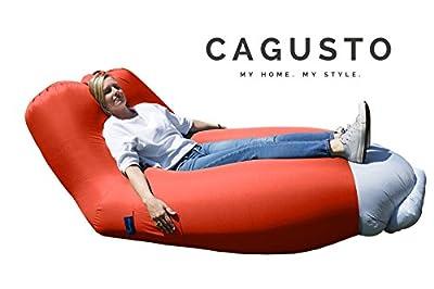 air-sofa CAGUSTO® rot Sitzkissen aufblasbar mit Rückenlehne verstellbar, air-lounger mit Kissen für Camping, Strand und Garten, Liegesack Bezug abnehmbar und waschbar, Luftmatratze Luftsofa Couch platzsparend, faltbar und tragbar, lazybag inkl. Rucksack