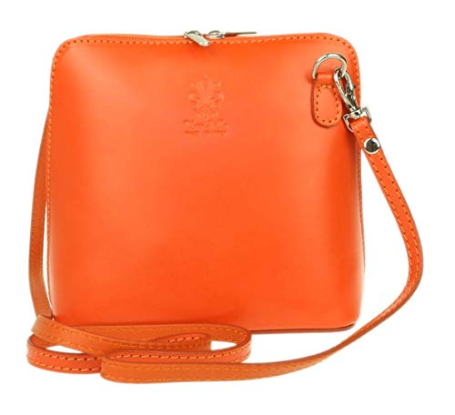 Girly Handbags - Bolso al hombro de cuero para mujer Naranja