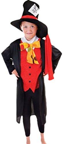 erdbeerloft - Jungen Mad Hatter Kostüm, 140, Rot (Cool Mad Hatter Kostüm)