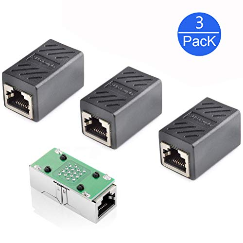 RJ45 Netzwerkkabel Verbinder(3 Stück),GeekerChip Netzwerkkabel gerade durch Stecker Netzwerk Adapter geschirmte Modular Kupplung Netzwerkkoppler, Schwarz