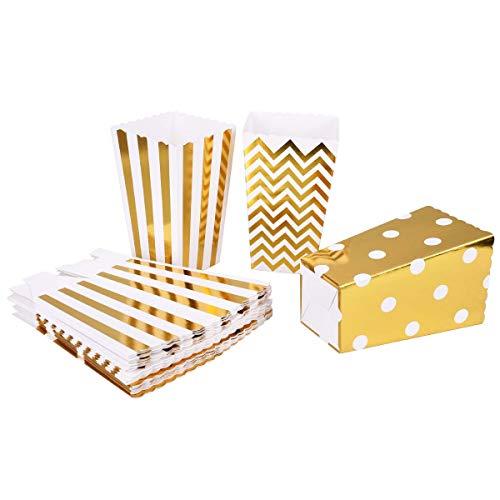 TankerStreet 24 Stück Popcorn-Boxen Karton Popcorn Tüte Papiertüten Klein Snack Candy Container Streifen Wellen Punkt Muster Taschen für Kind Party Hochzeit Geburtstag Geschenke Dekoration Gold