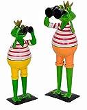 KUHEIGA Froschkönig mit Fernglas, Sortiert Höhe: ca. 36/46cm Metall Figur Spanner