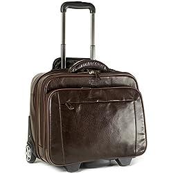 Maleta de cuero con ruedas - Bolsa de viaje con compartimento para portátil - Marrón oscuro