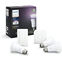 Philips Hue White und Color Ambiance E27 LED Lampe Starter Set, drei Lampen 4. Generation, dimmbar, steuerbar via App, kompatibel mit Amazon Alexa (Echo, Echo Dot), 8718696728796 [Energieklasse A+]