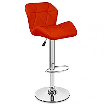 Neotechs® Red Diamond Chrome Base Gas Lift Swivel Faux Leather Kitchen Breakfast Bar Stool - low-cost UK light store.
