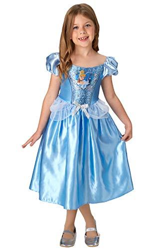 Rubie's 640817M Offizielles Disney Prinzessin Pailletten Cinderella Klassisches Kostüm Kinder Größe S Alter 5-6 Jahre, Höhe 116 cm, mehrfarbig (Kostüm Cinderella Disney)