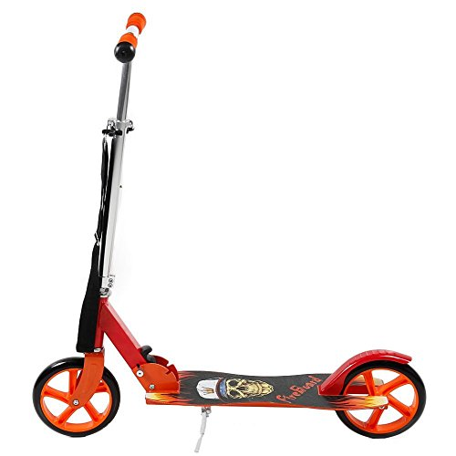 FunTomia® Kick Scooter Roller Cityroller / klappbar (Rot Fire-Board)