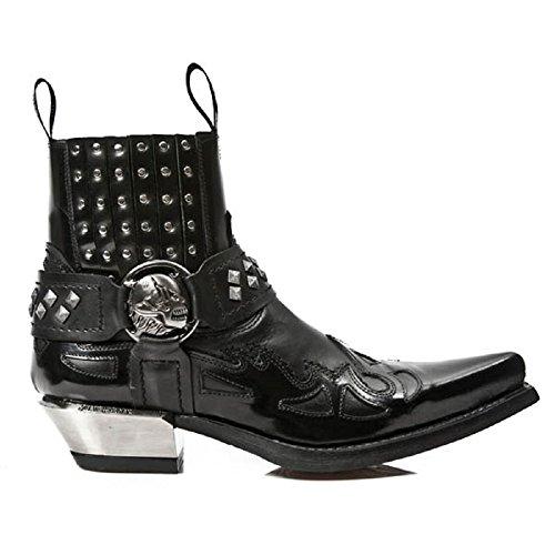 NewRock New Rock M.7950-S1 Schwarz Knöchel Stiefel Western Gote Gurt Schädel Zucht Metall 40 - Männer Western-stiefel