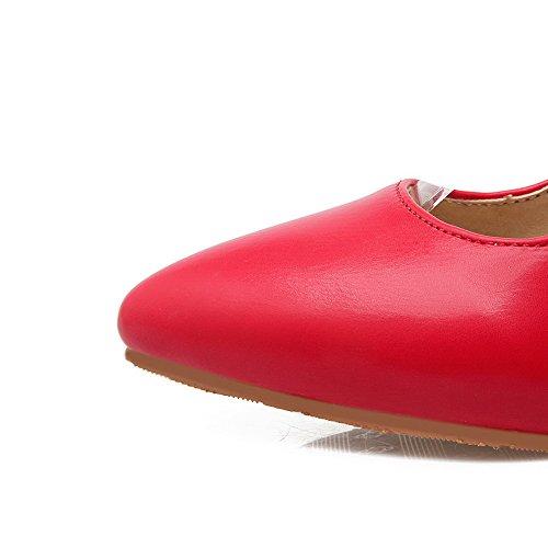 AgooLar Femme Boucle Pointu Stylet Couleur Unie Chaussures Légeres Rouge