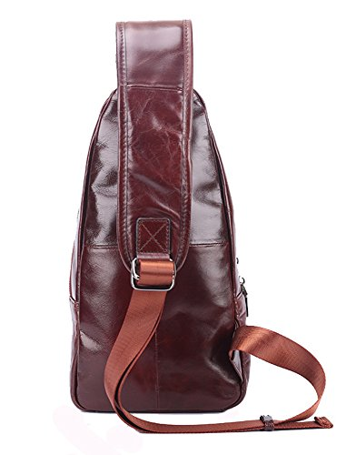 Everdoss Herren Bauchtasche Business echt Leder Schultertasche Cross Body Messenger Bag mit Schultergurt Brusttasche Freizeit Kaffee