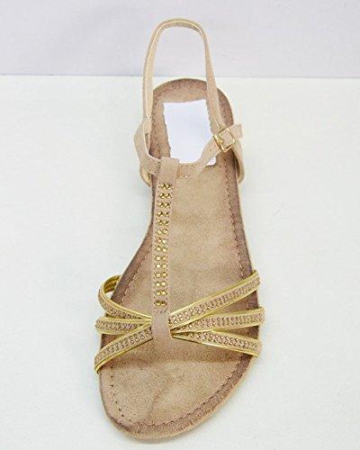 Sconosciuto Galeries99 shs01–Sandali Piatte nu-pieds cinturini strass–Scarpe Moda Donna–eté Grigio