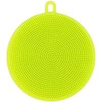 Éponge silicone,Amamary Silicone Lave-Vaisselle Éponge Laveur de Cuisine Nettoyant antibactérien pour Légumes Fruits Rondelle résistante à la chaleur Tapis (vert)