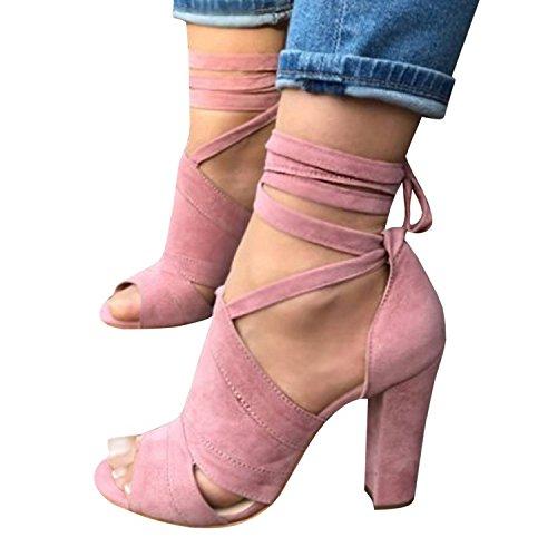 Minetom Sandalen Damen Riemchen Sandaletten High Heels Party Blockabsatz Shoes Elegante Abendschuhe Übergröße Mode Casual Schuhe Sommer B Pink EU 37